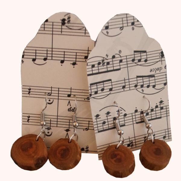 Ohrringe Hänger Kleine Holzscheiben Schmuck Natur Individuell