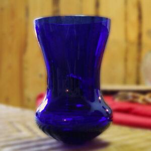 Glasvase Groß Blau Lauscha Rund Durchsichtig