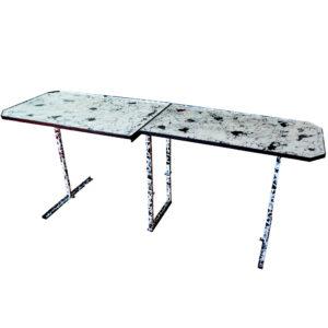 Esstisch Schreibtisch Tafel Schwarz Weiß Lack Upcycling Modern aus Bustischen
