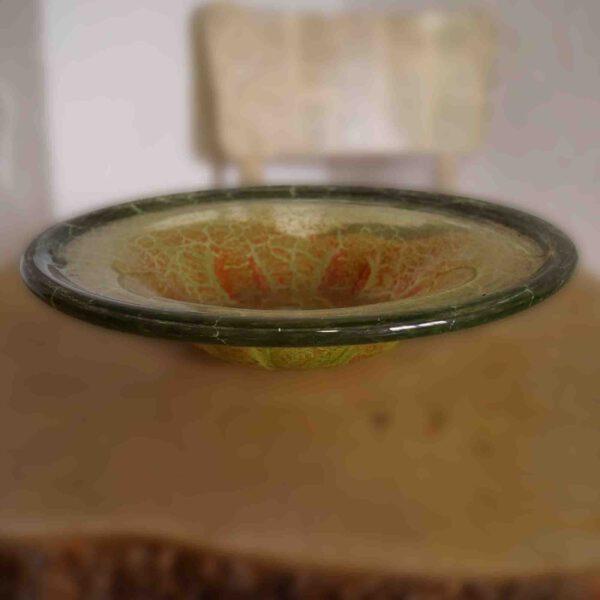 WMF Ikora Glasschale Groß aus den 20er 30er 40er Jahren in Grün mit roten Details rund